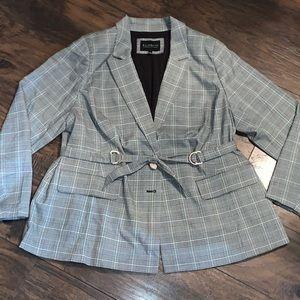 Eloquii plus size belted plaid blazer NWT